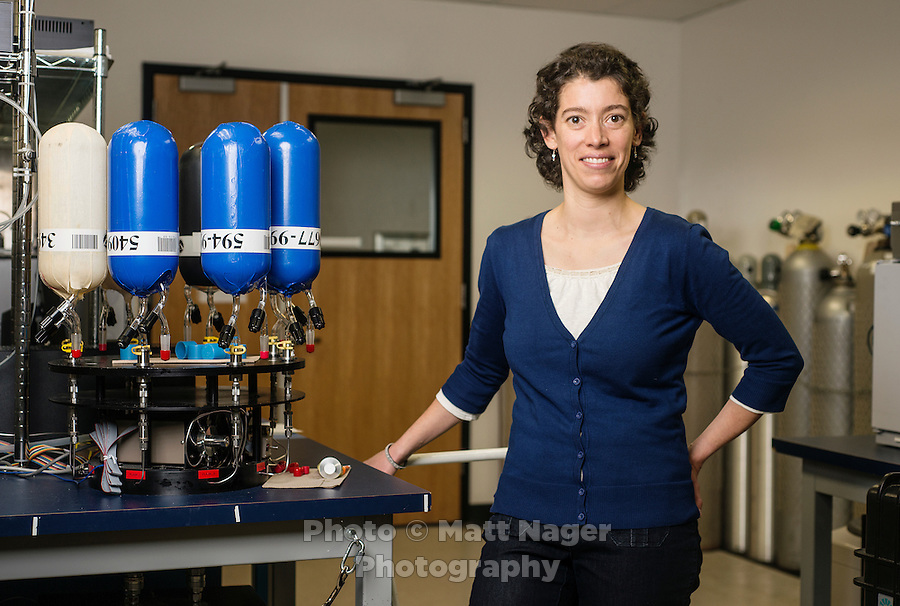 Climate change scientist with the National Oceanic and Atmospheric Association (NOAA) Gabrielle Petron (cq) in her lab in Boulder, Colorado, Friday, February 22, 2013. Petron is studying air quality globally and is looking to see how fracking affects the air.<br /> <br /> Photo by Matt Nager