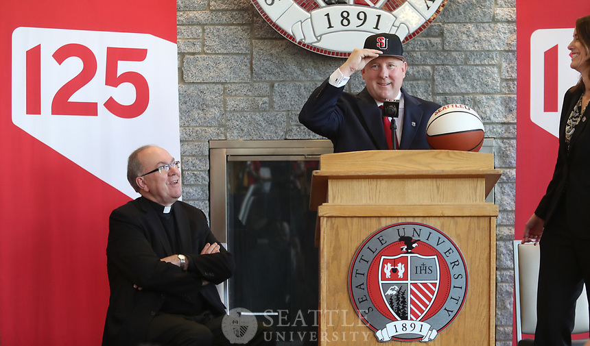 March 30th 2017 - Seattle University welcomes Jim Hayford, the new head Men's Basketball coach during a press conference on campus. Hayford leaves a successful run at Eastern Washington University where he led the team to the NCAA tournament twice in recent years.