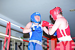 Dean O'Brien (red shorts) and Mike Tayor (blue shorts) in action at the Tralee ABC tournament at the Central hotel, Tralee on Saturday.