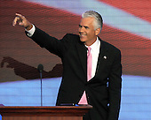 St. Paul, MN - September 4, 2008 -- United States Senator John Ensign (Republican of Nevada) acknowledges applause after making remarks on day 4 of the 2008 Republican National Convention at the Xcel Energy Center in St. Paul, Minnesota on Thursday, September 4, 2008..Credit: Ron Sachs / CNP