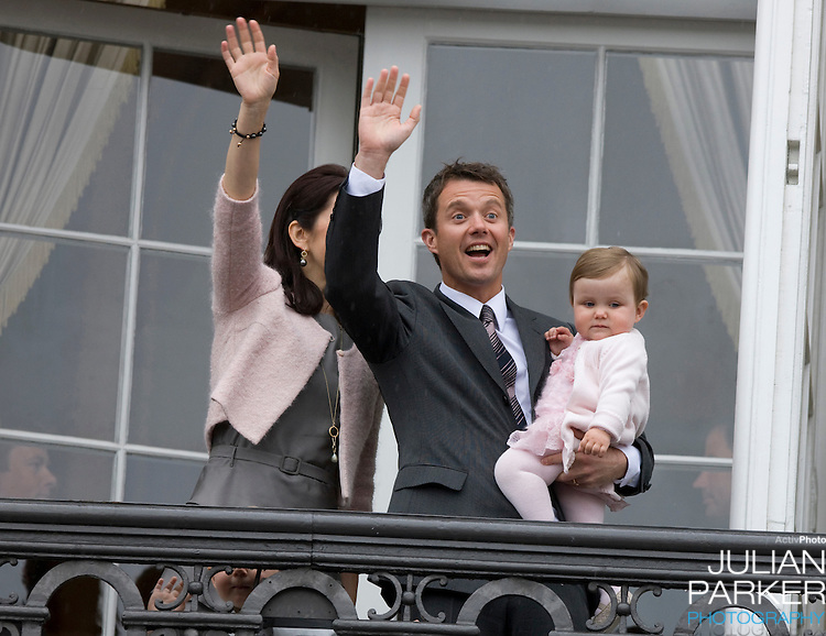 Crown Prince Frederick and Crown Princess Mary of Denmark and their children, Prince Christian ( age 2 ), and Princess Isabella ( age 1 ) on the Balcony of Amalienborg Palace in Copenhagen to celebrate Crown Prince Frederiks 40th Birthday.