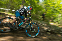 NWA Democrat-Gazette/BEN GOFF @NWABENGOFF<br /> Ed Lerby races Saturday, Aug. 18, 2018, during the Eureka Springs round of the Arkansas Enduro Series at Lake Leatherwood City Park. The event continues Sunday with stages at the Passion Play trails and an urban downhill leg through downtown Eureka Springs. The fifth and final race of the Arkansas Enduro Series season takes place Sept. 22 at the Coler Mountain Bike Preserve in Bentonville. Enduro is a type of mountain bike race with multiple time trial stages that are mostly downhill and technical. The downhill stages are linked together by untimed transition stages or shuttle buses.