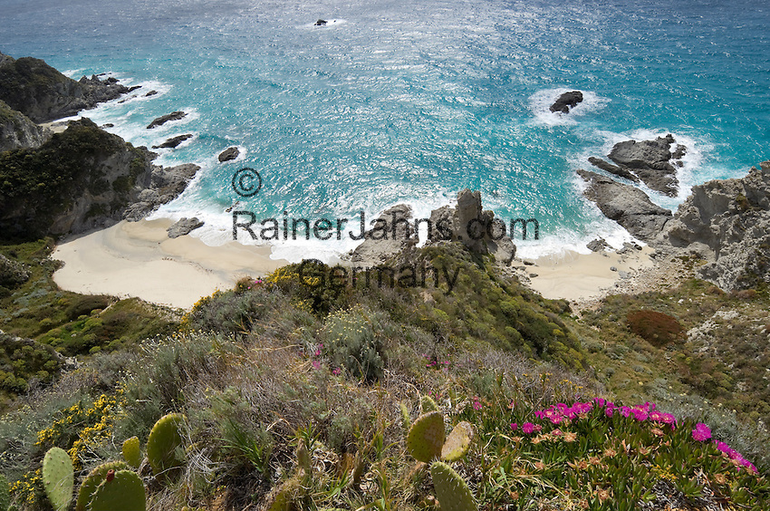 "Italy, Calabria, near Tropea: coastline and small beaches ""Le Spiaggette"" at Capo Vaticano"