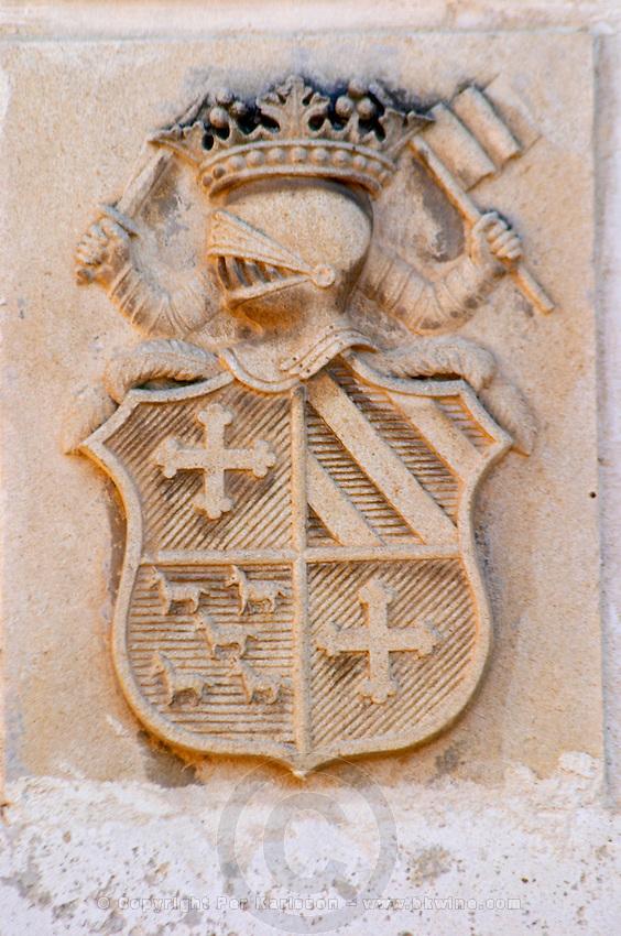 The medieval coat of arms  - Chateau Carignan, Premieres Cotes de Bordeaux