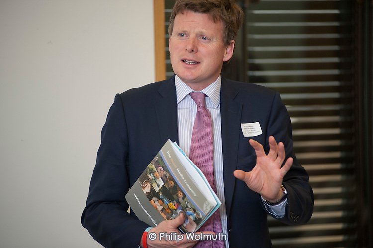 Richard Benyon MP, Under Secretary of State, DEFRA.  Rural Media Company and ACRE screening of Over the Hill at an event at Portcullis House, Westminster; 16/5/12.