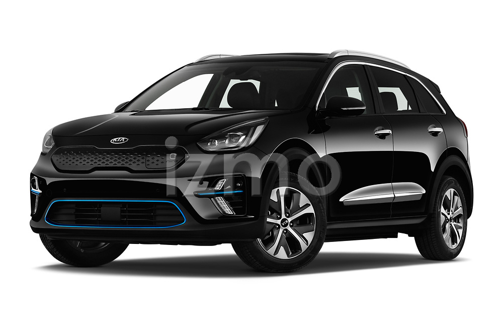 Stock pictures of low aggressive front three quarter view of 2019 KIA e-Niro More 5 Door SUV Low Aggressive