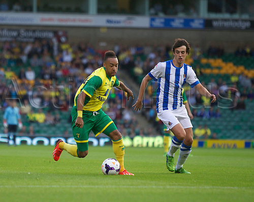 06.08.13 Norwich, England.  Nathan Redmond of Norwich City during the Pre Season Friendly between Norwich and Real Sociedad from Carrow Road.