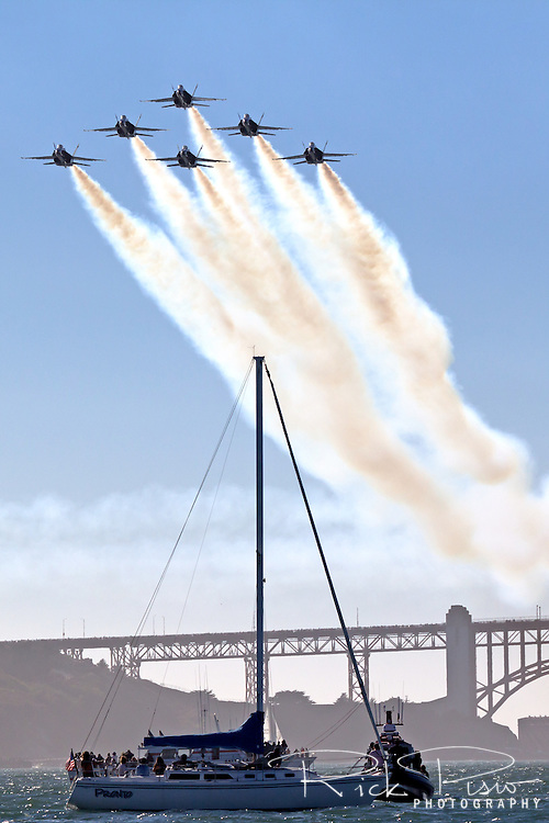 Blue Angels in delta formation over San Francisco Bay