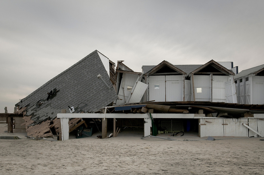 Destroyed by Hurricane Sandy beach cabins at Sea Bright, NY