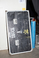 A case lid with the WWE logo is seen near the athletic trainers' area backstage before a WWE Live Summerslam Heatwave Tour event at the MassMutual Center in Springfield, Massachusetts, USA, on Mon., Aug. 14, 2017.