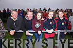 Enjoying the South Kerry Final in Cahersiveen on Sunday Dromid and St Michael/Foilmore supporters l-r; Dan O'Connell, Gerald Sugrue, Hazel Sugrue, Saidbh Brennan & Saoirse Kirby.