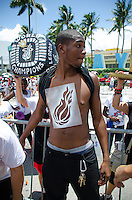 Body painting at Miami Heat NBA 2013 Championship parade, Biscayne Boulevard, American Airlines Arena, Miami, FL, June 24, 2013