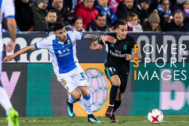 Lucas Vazquez (R) of Real Madrid battles for the ball with Diego Rico Salguero of CD Leganes during the Copa del Rey 2017-18 match between CD Leganes and Real Madrid at Estadio Municipal Butarque on 18 January 2018 in Leganes, Spain. Photo by Diego Gonzalez / Power Sport Images