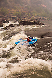 USA, Oregon, Wild and Scenic Rogue River in the Medford District, kayaker running the Lower Grave Creek Rapid
