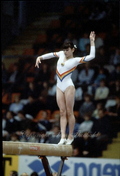 October 23, 1983; Budapest, Hungary; Artistic gymnast Laura Cutina of Romania performs on balance beam at 1983 World Championships in Budapest..(©) Copyright 1983 Tom Theobald