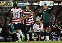 MEXICO CITY, MEXICO - AUGUST 15, 2012:  Graham Zusi (8) replaces Danny Williams (6) of the USA MNT against Mexico during an international friendly match at Azteca Stadium, in Mexico City, Mexico on August 15. USA won 1-0.