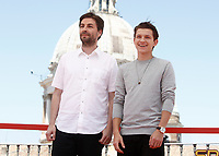 "Il regista statunitense Jon Watts (l) e l'attore britannico Tom Holland (r) posano durante un photocall per la presentazione del film ""Spider-Man: Homecoming"" a Roma, 20 giugno 2017. <br /> US film director Jon Watts (l) and British actor Tom Holland (r) pose during a photocall for the presentation of the movie ""Spider-Man: Homecoming"" in Rome, June 20, 2017.<br /> UPDATE IMAGES PRESS/Isabella Bonotto"