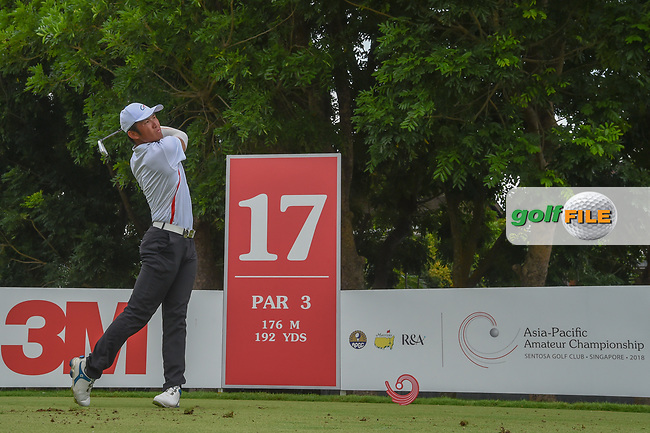 Yung-Hua LIU (TPE) watches his tee shot on 17 during Rd 3 of the Asia-Pacific Amateur Championship, Sentosa Golf Club, Singapore. 10/6/2018.<br /> Picture: Golffile | Ken Murray<br /> <br /> <br /> All photo usage must carry mandatory copyright credit (© Golffile | Ken Murray)