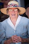 Independence Day celebration Main Street, Mokelumne Hill, California..Mary Jane Garamendi, 91 years old and life-long resident of Mokelumne Hill, the grand marshal of the Mokelumne Hill Fourth of July Parade.