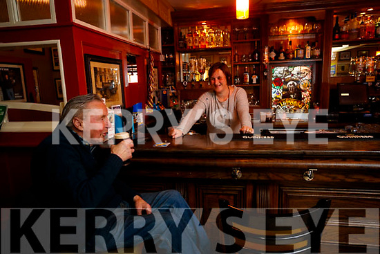 Francie Maher chatting with Fiona Kirby in the Bar at the Brogue Inn, Tralee.