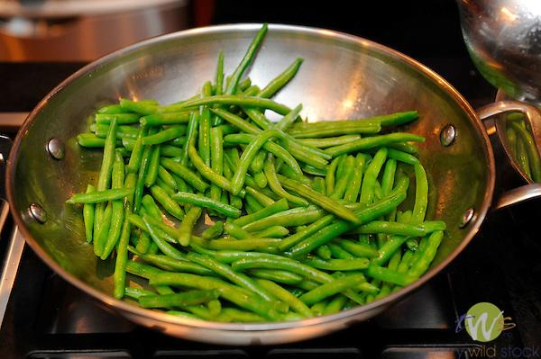 Sauteing  green beans.