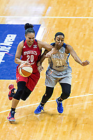 Washington, DC - Sept 17, 2017: Washington Mystics guard Kristi Toliver (20) makes a move to the basket against Minnesota Lynx guard Renee Montgomery (21) during playoff game between the Mystics and Lynx at the Verizon Center in Washington, DC. (Photo by Phil Peters/Media Images International)