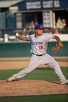 Armando Ruiz (19) of the Stockton Ports pitches against the Rancho Cucamonga Quakes at Loan Mart Field on July 16, 2017 in Rancho Cucamonga, California. Rancho Cucamonga defeated Stockton 9-1. (Larry Goren/Four Seam Images)