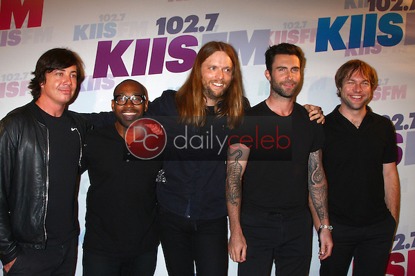 Matt Flynn, PJ Morton, James Valentine, Adam Levine and Mickey Madden of Maroon 5<br /> at the 2013 Wango Tango concert produced by KIIS-FM, Home Depot Center, Carson, CA 05-11-13<br /> David Edwards/DailyCeleb.Com 818-249-4998