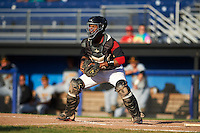 Batavia Muckdogs catcher Pablo Garcia (7) waits for a throw during a game against the West Virginia Black Bears on August 21, 2016 at Dwyer Stadium in Batavia, New York.  West Virginia defeated Batavia 6-5. (Mike Janes/Four Seam Images)