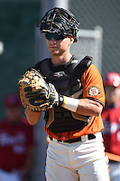 San Francisco Giants catcher Jared Deacon (7) during an Instructional League game against the SK Wyverns on October 14, 2014 at Giants Baseball Complex in Scottsdale, Arizona.  (Mike Janes/Four Seam Images)