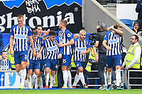 Aaron Connolly of Brighton and Hove Albion is congratulated after scoring the third and his second goal during Brighton & Hove Albion vs Tottenham Hotspur, Premier League Football at the American Express Community Stadium on 5th October 2019