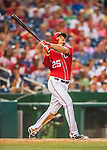 23 July 2016: Washington Nationals first baseman Clint Robinson watches the trajectory of his connection against the San Diego Padres at Nationals Park in Washington, DC. The Nationals defeated the Padres 3-2 to tie their series at one game apiece. Mandatory Credit: Ed Wolfstein Photo *** RAW (NEF) Image File Available ***
