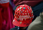 A Liverpool fans cap with badges during the Champions League Group E match at the Anfield Stadium, Liverpool. Picture date 13th September 2017. Picture credit should read: Simon Bellis/Sportimage