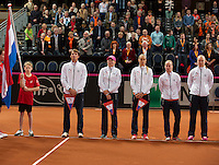 Februari 07, 2015, Apeldoorn, Omnisport, Fed Cup, Netherlands-Slovakia, Presentation, Dutch team<br /> Photo: Tennisimages/Henk Koster