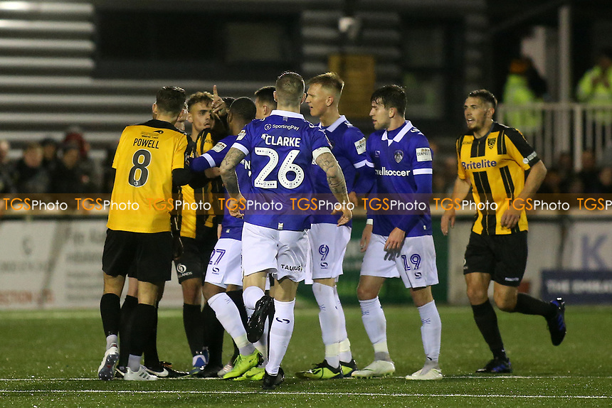 Tempers flare in the second half during Maidstone United vs Oldham Athletic, Emirates FA Cup Football at the Gallagher Stadium on 1st December 2018