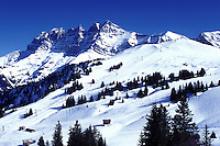 ski resort, Alps, Switzerland, Valais, Les Crosets, Portes du Soleil, Swiss Alps, Europe, Dents du Midi, Scenic view of the Portes du Soleil ski resort the largest international and linked ski area in the world in the Swiss Alps.