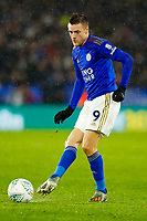 8th January 2020; King Power Stadium, Leicester, Midlands, England; English Football League Cup Football, Carabao Cup, Leicester City versus Aston Villa; Jamie Vardy of Leicester City on the ball - Strictly Editorial Use Only. No use with unauthorized audio, video, data, fixture lists, club/league logos or 'live' services. Online in-match use limited to 120 images, no video emulation. No use in betting, games or single club/league/player publications