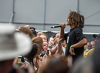 Jaden Smith jumps to get the crowd during The New Look Wireless Music Festival at Finsbury Park, London, England on Sunday 05 July 2015. Photo by Andy Rowland.