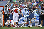 30 MAY 2016: PColin Heacock (2) of the University of Maryland on the ground against  the University of North Carolina during the Division I Men's Lacrosse Championship held at Lincoln Financial Field in Philadelphia, PA. Larry French/NCAA Photos
