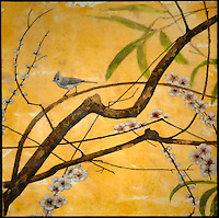 Mixed media encaustic photography of a Titmouse on branch with blossoms.