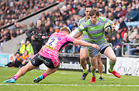 Newcastle Falcons' Simon Hammersley evades the tackle of Exeter Cheifs' Jack Innard<br /> <br /> Photographer Bob Bradford/CameraSport<br /> <br /> Anglo Welsh Cup Semi Final - Exeter Chiefs v Newcastle Falcons - Sunday 11th March 2018 - Sandy Park - Exeter<br /> <br /> World Copyright &copy; 2018 CameraSport. All rights reserved. 43 Linden Ave. Countesthorpe. Leicester. England. LE8 5PG - Tel: +44 (0) 116 277 4147 - admin@camerasport.com - www.camerasport.com