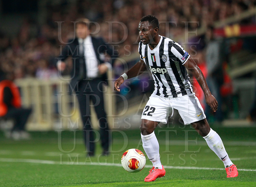 Calcio, ritorno degli ottavi di finale di Europa League: Fiorentina vs Juventus. Firenze, stadio Artemio Franchi, 20 marzo 2014. <br /> Juventus midfielder Kwadwo Asamoah, of Ghana, in action during the Europa League round of 16 second leg football match between Fiorentina and Juventus at Florence's Artemio Franchi stadium, 20 March 2014. Juventus won 1-0 to advance to the round of eight.<br /> UPDATE IMAGES PRESS/Isabella Bonotto