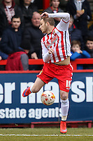 Dean Parrett of Stevenage during the Sky Bet League 2 match between Stevenage and Northampton Town at the Lamex Stadium, Stevenage, England on 19 March 2016. Photo by David Horn / PRiME Media Images.
