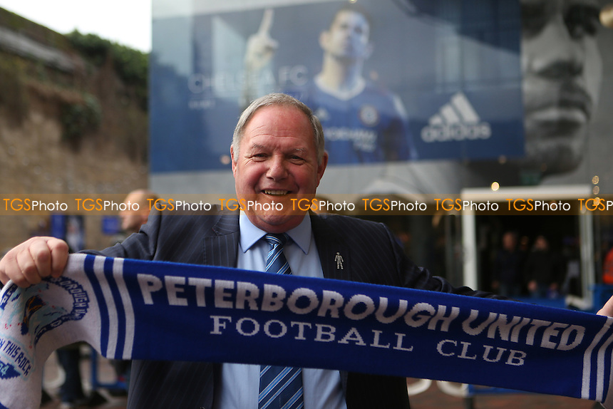 Barry Fry, Peterborough's Director of Football, arrives at the ground with his Peterborough scarf during Chelsea vs Peterborough United, Emirates FA Cup Football at Stamford Bridge on 8th January 2017