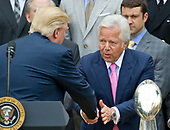 United States President Donald J. Trump shakes hands with New England Patriots owner Robert Kraft as he welcomes the Super Bowl Champs to the South Lawn of White House in Washington, DC on Wednesday, April 19, 2917.<br /> Credit: Ron Sachs / CNP<br /> (RESTRICTION: NO New York or New Jersey Newspapers or newspapers within a 75 mile radius of New York City)