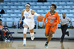 17 November 2015: North Carolina's Stephanie Watts (5) is chased by Florida A&M's Kenya Dixon (34). The University of North Carolina Tar Heels hosted the Florida A&M University Rattlers at Carmichael Arena in Chapel Hill, North Carolina in a 2015-16 NCAA Division I Women's Basketball game. UNC won the game 94-58.