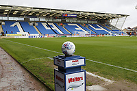 A general view of the stadium and the match ball during the Sky Bet League 1 match between Peterborough and Fleetwood Town at London Road, Peterborough, England on 28 April 2018. Photo by Carlton Myrie.