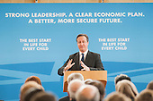 Prime Minister David Cameron MP addresses a Conservative Party general election press conference at Kingsmead School, Enfield, London.