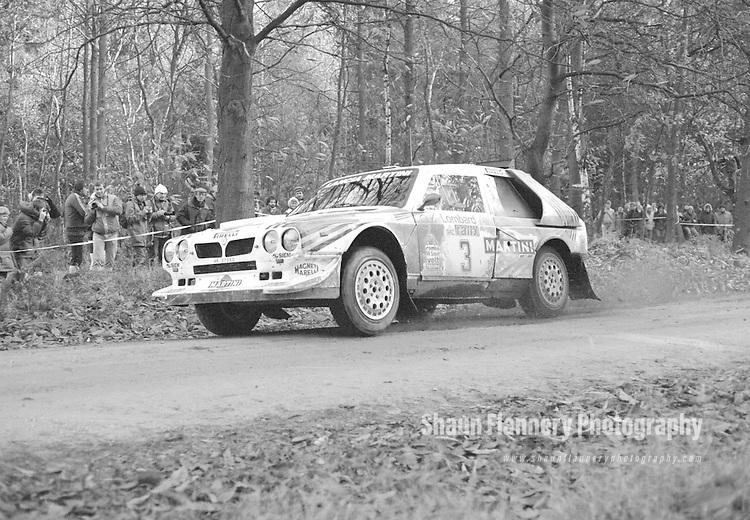 Pix: Shaun Flannery/shaunflanneryphotography.com...COPYRIGHT PICTURE>>SHAUN FLANNERY>01302-570814>>07778315553>>..1985 Lombard RAC Rally..Markku Alen & IIlla Kivimaki Lancia Delta S4 through Clumber Park.