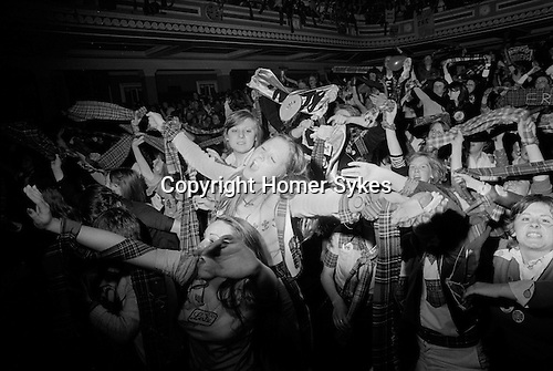 Bay City Rollers pop group boy band girl teen fans Newcastle UK 1970s.